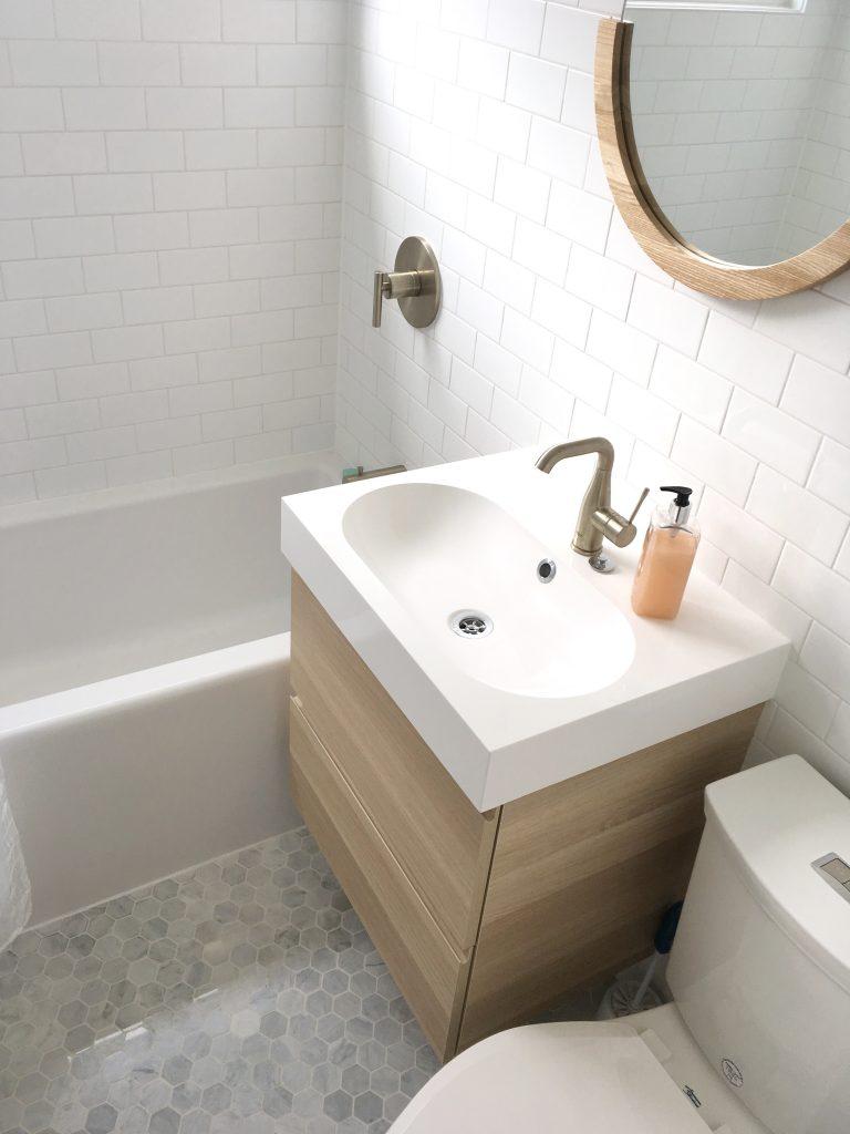Scandinavian Inspired Small Bathroom Design With Hexagon Marble Tiles